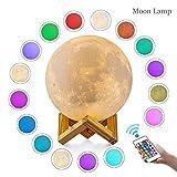 Lampe Lune LED, ALED LIGHT Veilleuse LED Lampe Luna 3D, 15cm Diamètre, 16 Couleurs Contrôlées par Télécommande, USB Rechargeable Veilleuse Lune Lampes de Chevet pour Enfant Cadeau Anniversaire Noël