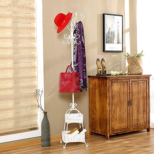 Appendiabiti da terra, appendiabiti da camera, appendiabiti multifunzionali per la casa, appendiabiti europeo in ferro battuto ( colore : bianca )
