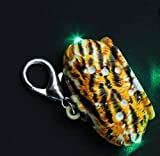 Happy-little-bear Krone geformt Strass LED-Blitz Anhänger Shine Dog Tag mit USB-Linie (Leopard)