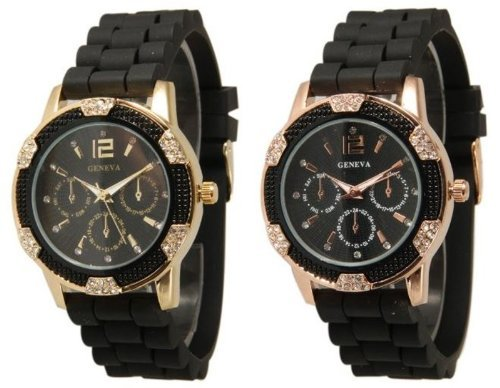 2-pack-black-gold-and-rose-gold-crystal-rhinestone-geneva-faux-chronograph-rubber-jelly-watch