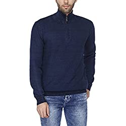 Indian Terrain Mens High Neck Slub Pullover (jumper Fit)
