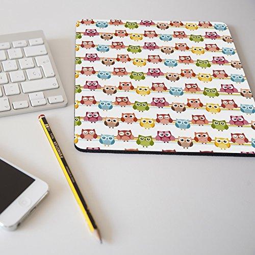 Alfombrilla para ratón regalo original diseño estampado búho búhos de colores rosa verde amarillo azul