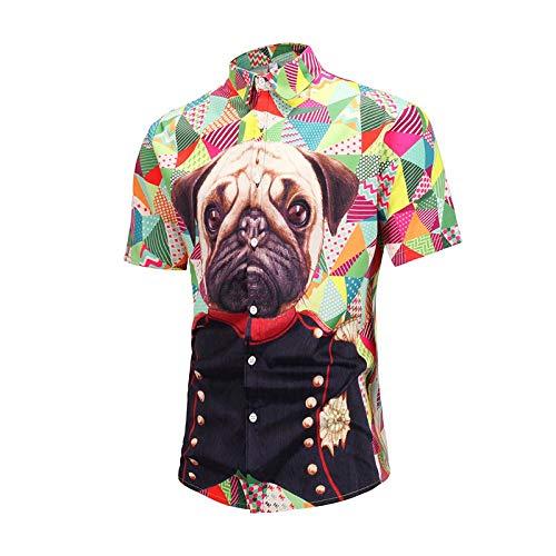 LHXWY Kurzarm-Hawaii-Hemd Bunte Große Blumen-Sommer-Modisches T-Shirt Partei-3D Druck-Phantasie Shar Pei S