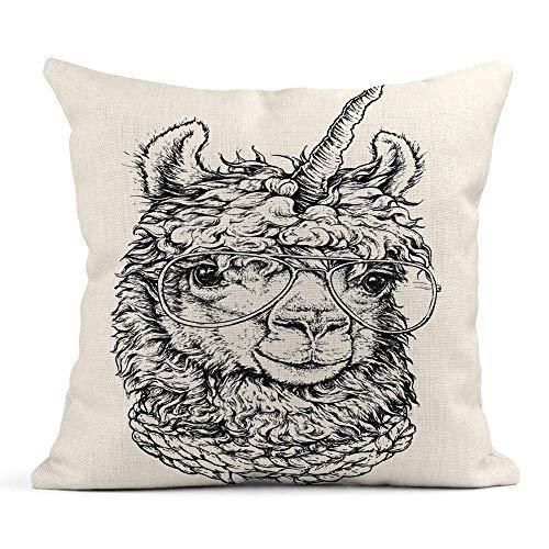 odin sky Dekokissenbezug Print Funny Lama Llamacorn in Brillen Hipster Zeichnung White Alpaca Kissenbezug einseitig Design Home Sofa Decor45x45 cm Dekokissenbezug