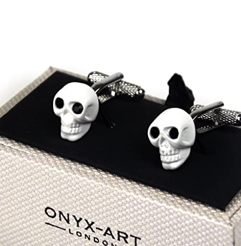 Cufflinks White Skull With Black Crystal Eyes