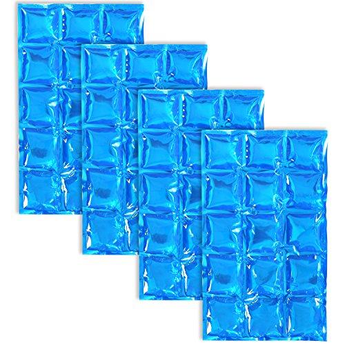 com-four® 4X Flexibles EIS-Pack, Wiederverwendbare Kühlkompresse mit 15 Kühlzellen, 25 x 15 cm (4 Stück - Pads 25 x 15 cm) Pack Auto-gele