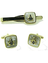 Gilt and MOP Masonic Cufflinks and Tie slide with compass - 107