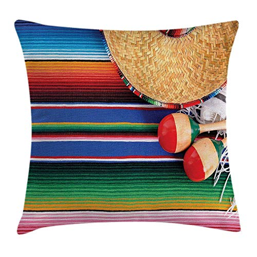 Kjdfh Taie D Oreiller Mexican Culture Theme With Sombrero Straw Hat Maracas Serape Blanket Rug Picture Nice Looking Flax Pillow Case Pillow Cover 50