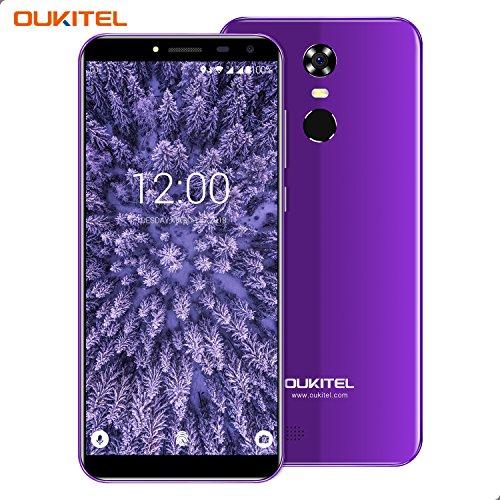 Smartphone Ohne Vertrag, Oukitel C8 3G Dual Sim Handy 5.5 Zoll (18:9 Display) Android 7 3000mAh Akku 16GB Interner Speicher 2GB RAM 13MP Kamera Handy mit Fingerabdruck-Lila