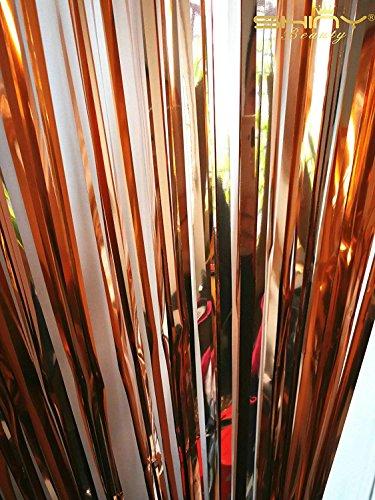 ShinyBeauty Foil Fringe Backdrop Curtain Rose Gold