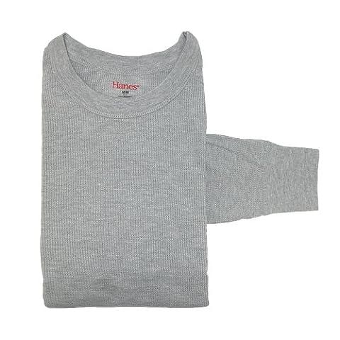 Hanes Mens Cotton Long-Sleeve Thermal Underwear Crew Top, 2XL, Grey
