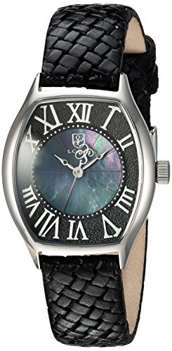 S.COIFMAN WOMEN'S BLACK LEATHER BAND STEEL CASE QUARTZ ANALOG WATCH SC0384