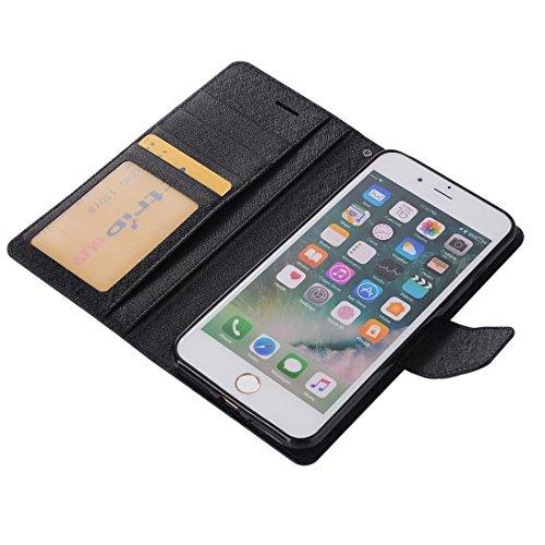 Wkae Silk Texture Horizontale Flip Leder Tasche mit Geldbörse & Halter & Card Slot & Foto Frame für iPhone 7 Plus ( Color : Rose gold ) Black
