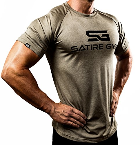 Satire Gym Fitness T-Shirt Herren - Funktionelle Sport Bekleidung - Geeignet Für Workout, Training - Slim Fit (L, Khaki meliert)