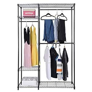fds durable double armoire penderie pour v tements rangement avec rail de penderie en m tal. Black Bedroom Furniture Sets. Home Design Ideas