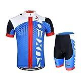 GWELL Männer Fahrradtrikot Set Fahrradbekleidung Atmungsaktiv Fahrrad Trikot Kurzarm + Radhose mit 3D Sitzpolster blau schwarz XL
