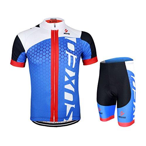GWELL Männer Fahrradtrikot Set Fahrradbekleidung Atmungsaktiv Fahrrad Trikot Kurzarm + Radhose mit 3D Sitzpolster blau schwarz 2XL