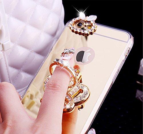 EUWLY Silicone Custodia per iPhone 6 Plus/iPhone 6s Plus (5.5),Specchio Cover Case per [iPhone 6 Plus/iPhone 6s Plus (5.5)],Glossy Mirror Bling Glitter Diamante TPU Custodia Case Cravatta a Farfalla Anello Corona Imperiale,Oro