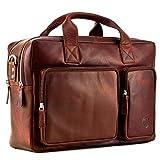 Echt Leder Aktentasche Business Tasche Herrentasche Schultertasche Umhängetasche DIN-A4 Braun Laptoptasche Notebooktasche Messenger Bag DIN-A4 Tasche Braun