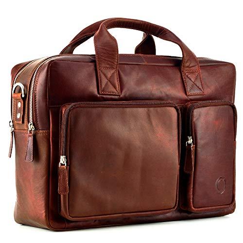 Colibri Leder Aktentasche Laptoptasche Ledertasche Notebooktasche Schultertasche Studenten Tasche Umhängetasche Uni Vintage A4 Herren Damen Braun
