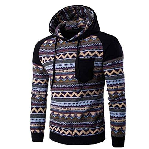 Men Hoodies,Bluester Men Retro Long Sleeve Hoodie Hooded Sweatshirt Tops Jacket Outwear Coat (M, Black)