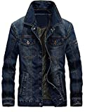 MatchLife Herren Herbst Winter Jeansjacke Classic Jacke-Style1-Dunkelblau-2XL