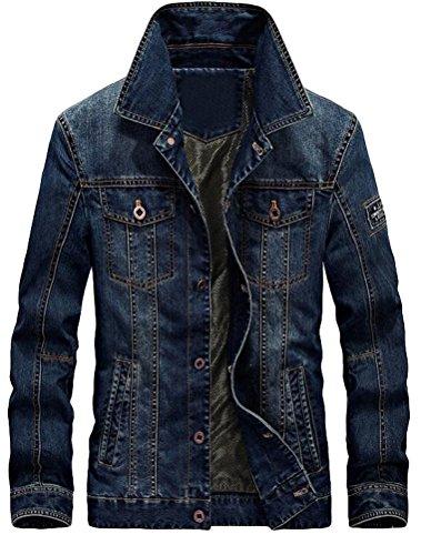 c7a675dab2f0 MatchLife Herren Herbst Winter Jeansjacke Classic Jacke-Style1-Dunkelblau-L