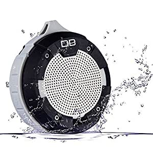 IPX5 Wasserdicht Bluetooth Lautsprecher V4.0, DBPOWER BX-600 Staubdicht Tragbare Wireless Stereo 5W Strong Lautsprecher-Treiber Mit 12 Stunden Spielzeit für Outdoor / Dusche (Grau)