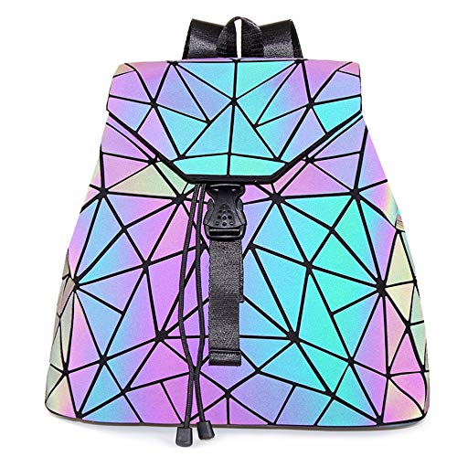 HotOne Geometric Backpack Holographic Reflektierende Rucksäcke Mode-Rucksack(Rucksack Nr.4, M)
