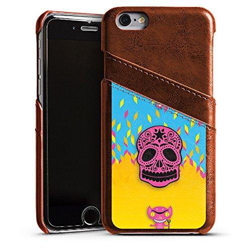 Apple iPhone 5s Housse Étui Protection Coque Diable Enfer Feu Étui en cuir marron