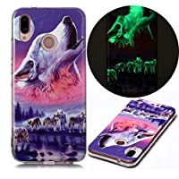 Mylne Luminous Effect Back Case Cover for Samsung Galaxy A70e,Noctilucent Glow in the Dark Green Soft Slim TPU Gel Flexible Bumper,Six Wolf