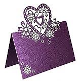 Lots Of Laser Cut Love Herz Design Hochzeit Party Tischkarten Decor faltbar Tischkarten Namen Karten Hochzeit Festtafel Dekoration (50) violett