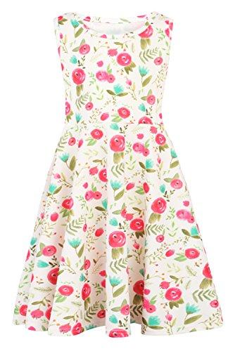 Funnycokid Frühling Sommer Aermellos Prinzessin Mädchen Kleid Grün Blätter (Mädchen Kleider Frühling)
