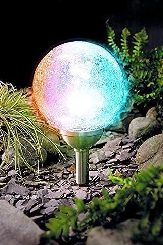 XXL Lampe solaire LED Boule en Verre véritable lampe solaire 15cm Inox 2LED cristal Lampe solaire jardin en acier inoxydable Crackle verre 2Blanc ou LED Changement de couleur