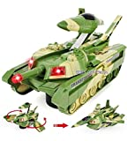 #3: Blossom Convertible Tank & Airplane Jet Fighter Toy (Battery Operated) with Lights, Shooting Music & Bump & Go Movement for Kids, Green