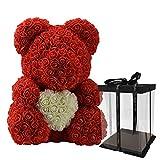 Lergo - Orsacchiotto di rose artificiali, in schiuma di polietilene, 38 cm, idea regalo per San...
