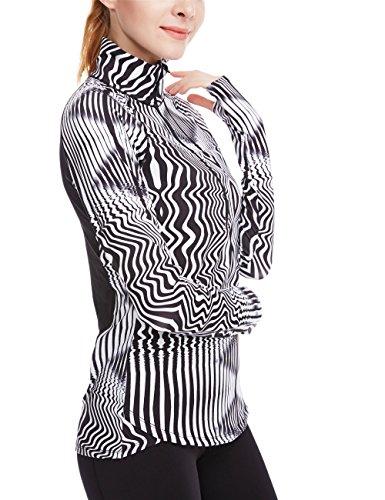 icyZone® Fonctionnel Polo Pour Femme 1/2 Zip Manches Longues Zebra