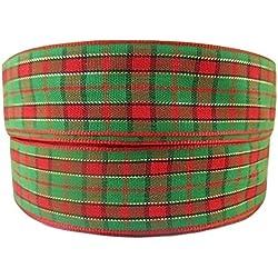 """1Metre de escocés de tartán poliéster rojo verde oro cinta de la Navidad 7/8""""22mm"""