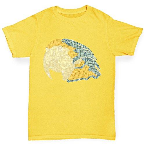 TWISTED ENVY Mädchen T-Shirt Parrot Head Rhinestone Diamante Stass Age 12-14 Gelb (T-shirt Tee Parrot Cockatoo)
