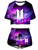 Herqw61 Damen BTS Bangtan Boys T-Shirt & Kurze Hose Set Kurzarm Crop Top & Shorts Sommer Oberteile & Jogginghose Sport Set (XL, Galaxy)