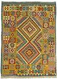 CarpetFine: Kelim Afghan Teppich 147x180 Blau - Geometrisch