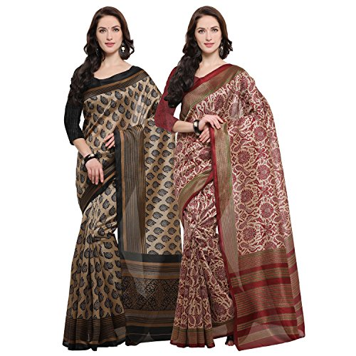 Rajnandini Women's Jute Silk Printed Saree(JOPLNB11013-18_Multicolor_Combo Of 2)