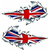 metal rip open,British union jack flag sticker.150mm