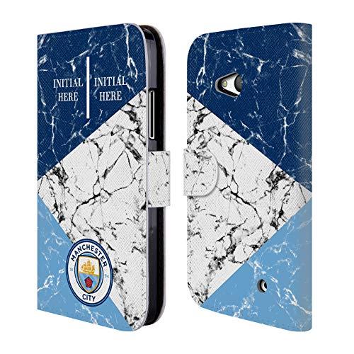 Head Case Designs Personalisierte Individuelle Manchester City Man City FC Marmor 2018/19 Brieftasche Handyhülle aus Leder für Microsoft Lumia 640 / Dual SIM