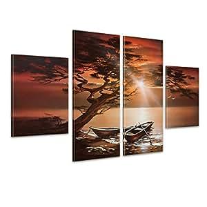 """Bilderdepot24 """"bateaux sur l'eau M1"""" tableau peinture, sur toile, peint à la main, 120x70cm ensemble de 4 pièces 443"""