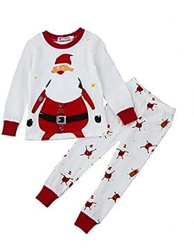 Covermason Niñas y niño Navidad Pijama Conjunto, Lindo Santa Claus Impresión Camiseta + Pantalones para 1-7 Años...