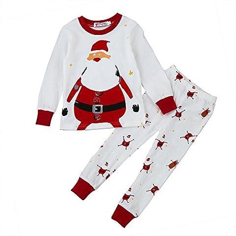 KANGRUNMY Costume De NoëL Pour Enfants 2-7 Ans 2Pcs Hiver Automne BéBé Garcons Filles Santa Impression Tops T-Shirt à Manches Longues + Pantalon Long Tenues VêTements MéLange De Coton Rouge (4ans)