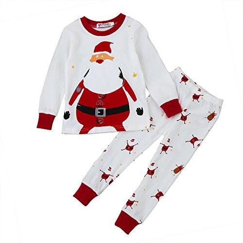 KANGRUNMY Costume De NoëL Pour Enfants 2-7 Ans 2Pcs Hiver Automne BéBé Garcons Filles Santa Impression Tops T-Shirt à Manches Longues + Pantalon Long Tenues VêTements MéLange De Coton Rouge (6ans)