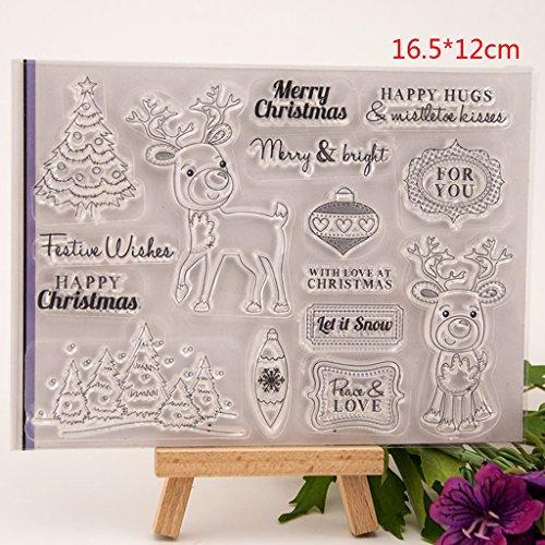 SimpleLife Transparenten Briefmarken, Klare Briefmarken für Scrapbooking Fotoalbum DIY Dekor Silikon Stempel + Carbon Stahl Metallrahmen Fröhliche Weihnachten -