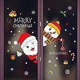 SIridescentZB Decorazioni Natalizie, Babbo Natale Pupazzo di Neve Decalcomania per Porte e finestre Sticker Home Shop Decor